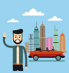 Man smiling with car city background vector