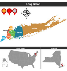 Map of long island vector