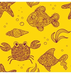 Marine life animals seamless pattern vector image