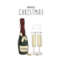 merry christmas decoration champagne bottle vector image