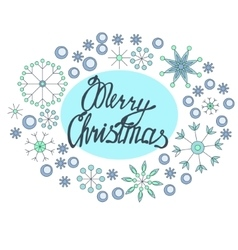Merry Christmas lettering in snowflakes frame vector image