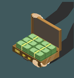 Money in the suitcase flat isometric low poly vector