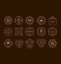 Monogram logo template set golden heraldic badge vector