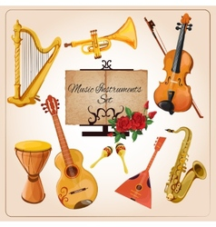 Music instruments color vector image