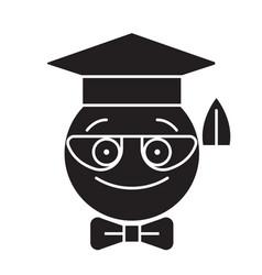 nerdy student emoji black concept icon vector image