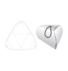 no glue folded triangle shaped packaging die cut vector image