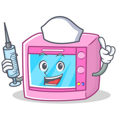 Nurse oven microwave character cartoon vector