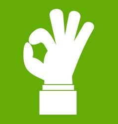 ok gesture icon green vector image