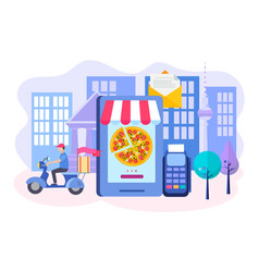 ordering pizza online mobile phone delivery by vector image