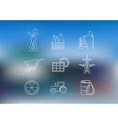 Outline industrial icons set vector image