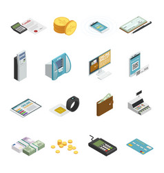 Payment methods isometric icons collection vector