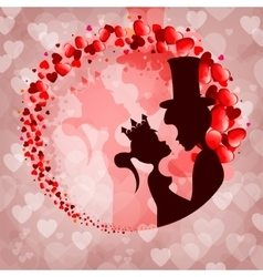 Pink backgroundsilhouette Prince and Princess vector