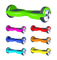 rainbow colors set hoverboard or gyroscooter city vector image