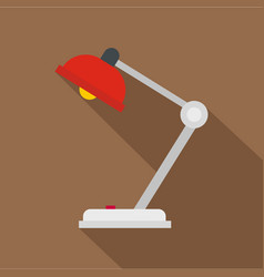 Red desk lamp icon flat style vector