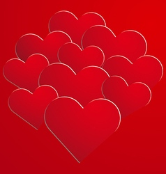 Red paper hearts on background vector image