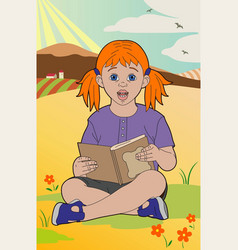 Redhead with a book vector