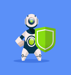 robot hold shield isolated on blue background vector image