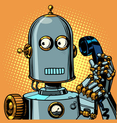scared funny robot talking on a retro phone vector image