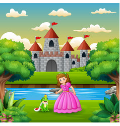 Scene with frog prince and princess on the edge of vector
