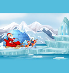 Scene with santa and reindeer vector