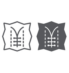Seam line and glyph icon dressmaking and sew vector