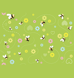 Seamless baby pattern with bees vector