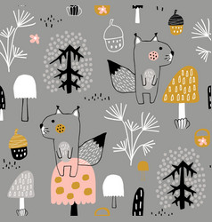 Seamless childish pattern with cute squirrels in vector