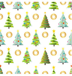 seamless christmas pattern with trees and vector image