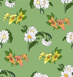 Seamless pattern with daisy green vector image
