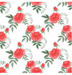 seamless pattern with rose flower branches with vector image