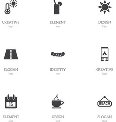 set of 9 editable journey icons includes symbols vector image