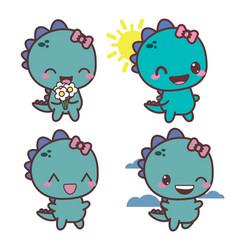 set of dinosaur happy girl good day vector image