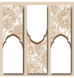 Set of floral banners templates in oriental style vector