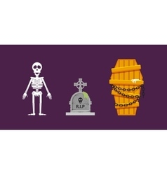 Skeleton wooden coffin with chains tombstone for vector image
