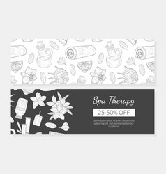 Spa therapy banner template organic natural vector