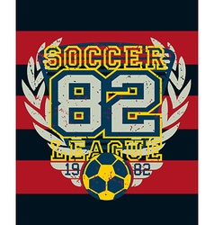 Sports soccer league distressed jersey print vector image