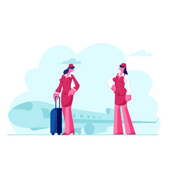 stewardess flight attendant air hostess girls vector image