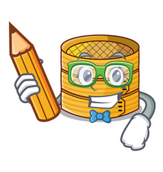 Student with book cartoon traditional bamboo for vector