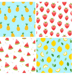 Summer fruits patterns vector