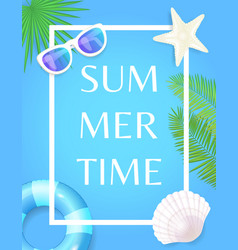 summertime poster with frame lifebuoy and seashell vector image