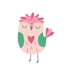 Sweet pink owlet adorable owl bird vector