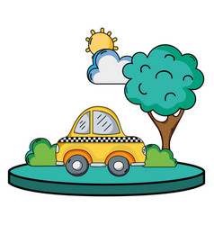 Taxi car service in the city with tree vector