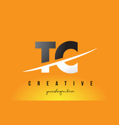 Tc t c letter modern logo design with yellow vector