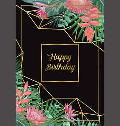 Tropical happy birthday card vector