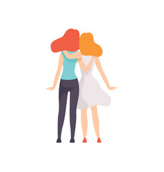Two beautiful women friends hugging standing vector
