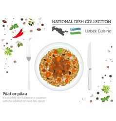 Uzbek cuisine asian national dish collection vector