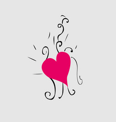vintage heart and hand drawn line vector image