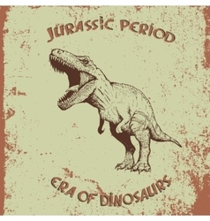 Vintage label with dinosaur vector image