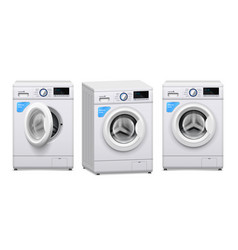 washing machine realistic set vector image