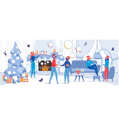 winter christmas eve people in festive interior vector image